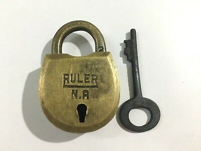(04) Old antique solid brass padlock or lock with key small miniature RARE SHAPE