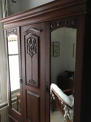 Edwardian style wardrobe vintage retro, dark wood, front to back rail, two door
