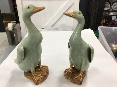Antique Vintage Chinese Celadon Ducks Pair Impressed Seal Marks Signed