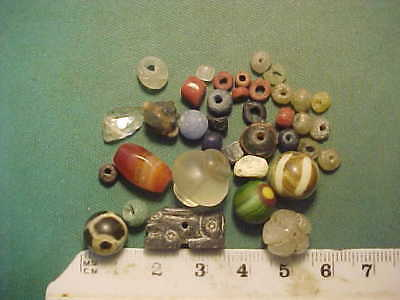 30+ ancient beads circa 1000 BC-1700 AD + An ancient Egyptian hare amulet