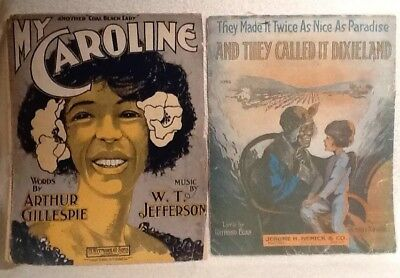 2 Black Americana lot  My Caroline & They Called it Dixieland sheet music 1901