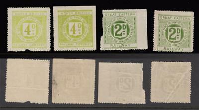 Great Eastern 2d x 2 + North British 4d x 2 Railway Letter Stamps All Unmounted
