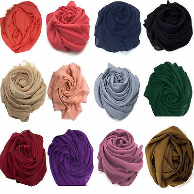 New Chiffon Hijab Scarf Elegant High Quality Sarong Shawl Wrap Plain Maxi