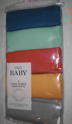 M&S Tiny Baby 6lb 6oz pack of 5 Long sleeve Bodysuits bright mix