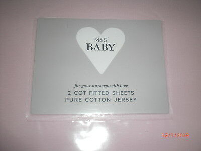 M&S 2 pack Cotton Jersey Fitted Cot Sheets  Light Pink BNIP
