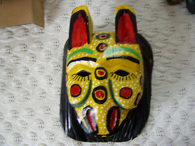 Mexican decorative mask tiger jaguar carved wood