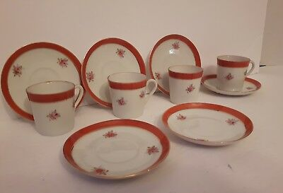 Miniature tea set made in occupied Japan 4 cups 6 saucers copper floral print