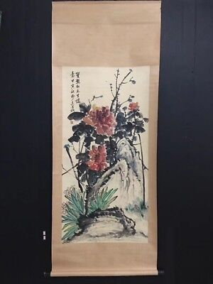 100%Hand Painting old Chinese Excellent scroll Landscape By Wu ChangShuo 吴昌硕