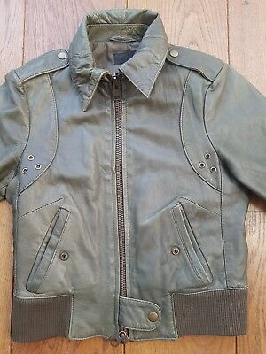 All Saints women Khaki Green Brown Fitted Bomber Style Leather Jacket Size 8