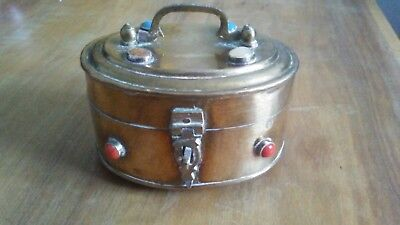 Vintage Brass Trinket Box With Semi Precious Stones .Maybe Indian or Chinese