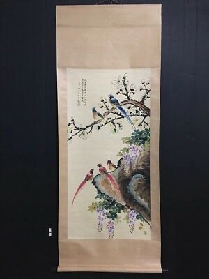 100%Hand Painting old Chinese Excellent scroll Landscape By Wu QingXia吴青霞