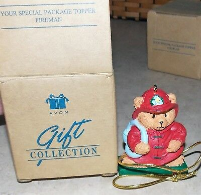 Avon Gift Collection Teddy Bear  Red Fireman Uniform  Package Topper 1997