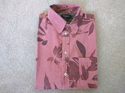 Paul Smith Shirt - NEW Pink Long Sleeved Leaves leaf Floral RRP: £145