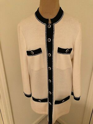 St. John Collection by Marie Gray Knit Size 8 Petite Cream Skirt Size 6 Jacket