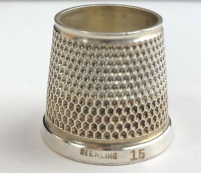 Vintage Antique Sterling Silver TAILORS Thimble  #15 OPEN TOP 7 Grams