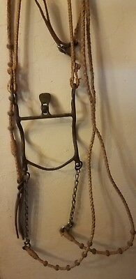 Vintage Rawhide Bridle With Antique Handmade Spade Roller Bit