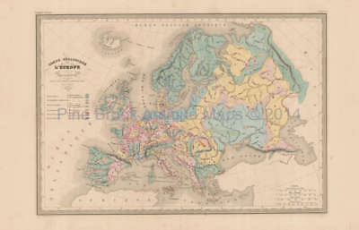 Europe Geology Antique Map Malte Brun 1850 Original