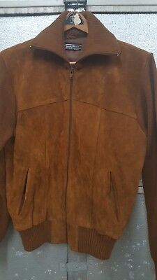 Vintage SEARS Mens Suede and Knit Jacket Sweater  L 42-44 sportswear leather zip