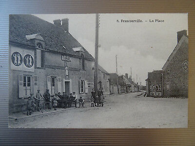Cpa Francourville--La Place Animee.  Tabac.