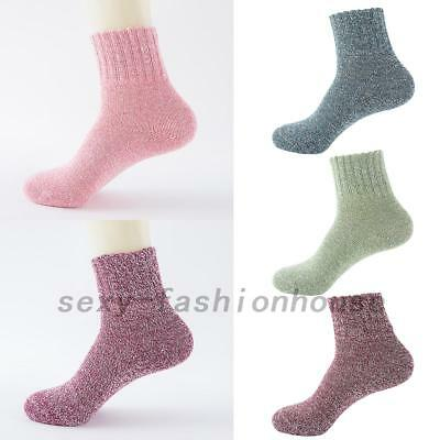5 Pairs Women Wool Cashmere Thick Winter Warm Socks Soft Solid Casual Sports AU