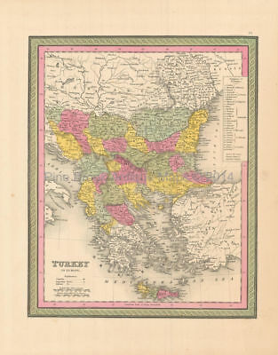 Turkey In Europe Antique Map Mitchell 1846 Authentic Balkan Decor Gift