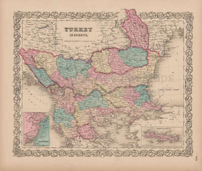 Turkey in Europe Vintage Map Colton 1856 Original