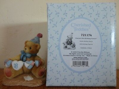 2000 Cherished Teddies CHERISH THIS BIRTHDAY FOREVER Age 18 Figurine #721174