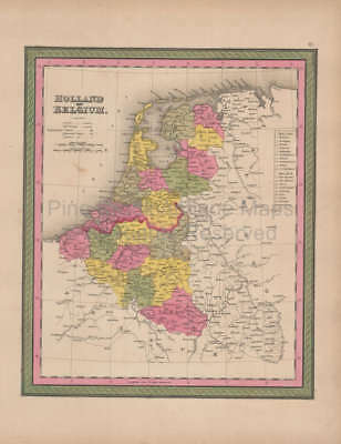 Holland Belgium Vintage Map Mitchell 1847 Original