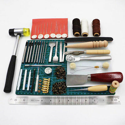 Diy 69PCS Cuir Outils D Artisanat Couture Punch Sculpture Travail Selle  Groover 486f1cd8073