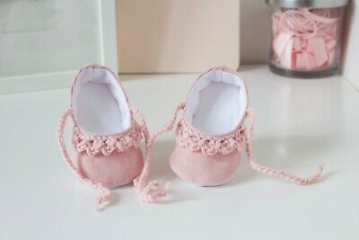 Baby shoes, baby girls shoe, Pink cord Ballet flats with crochet detail.