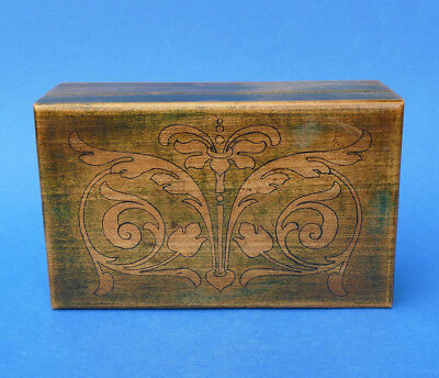 Arts & Cafts - Pen & Ink and Stained WOODEN Casket Box c1900 - Irish ?