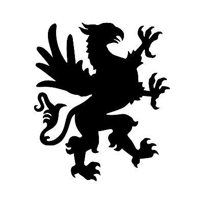 """HERALDIC GRIFFIN MYTHICAL CREATURE VINYL DECAL FOR 8/"""" GLASS CRAFT BLOCK DIY"""