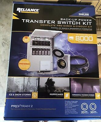 Reliance Back-Up Power 6-Circuit Transfer Switch Kit 306LRK New sealed Box