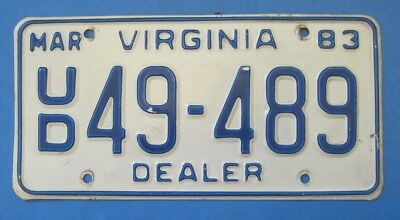 1983 Virginia Used car Dealer License Plate