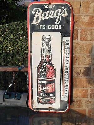 """NICE Vintage 1953- 25"""" Barq's Root Beer Thermometer Metal Sign"""