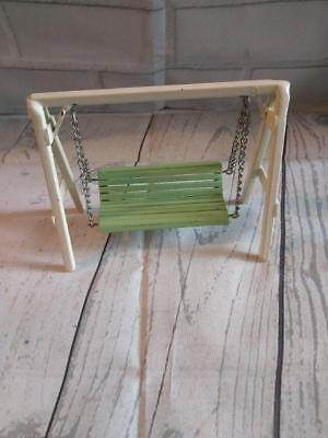 Vintage Miniature Doll House Furniture Metal Outdoor Porch Lawn Yard Swing