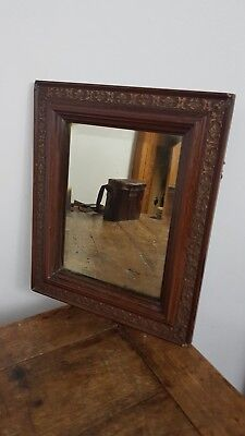 ANTIQUE 1890's VICTORIAN BEVELLED GLASS WOOD FRAME WALL MIRROR UK MADE