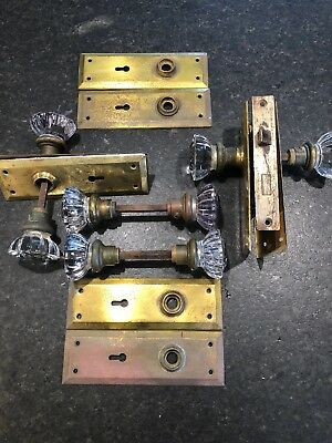VINTAGE-Antique Glass Door Knobs Lot with brass door plates and one with lock!