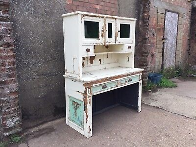 Antique Pine Victorian Kitchen Dresser With Original Distressed Chippy Paint