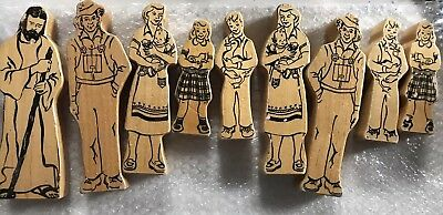 Vintage Lot of 13 Hand Carved Wood Sculpture Figurines Painted On Front And Back