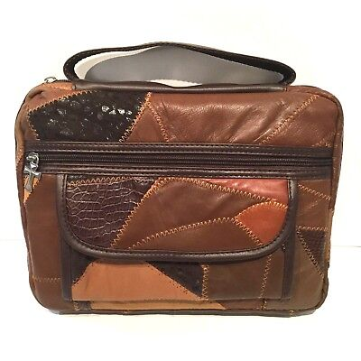 Holy Bible Book Cover Brown Genuine Patchwork Leather Carrying Case Tote Bag New
