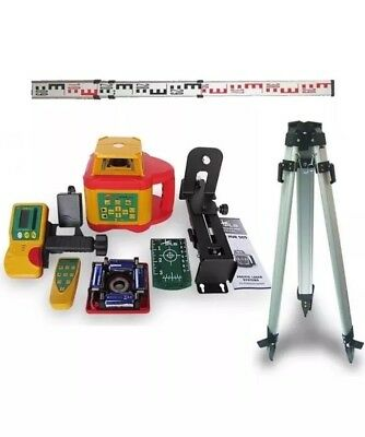 Pls Hvr 505G  Visible Green Beam Rotary Laser Level With Tripod & Staff