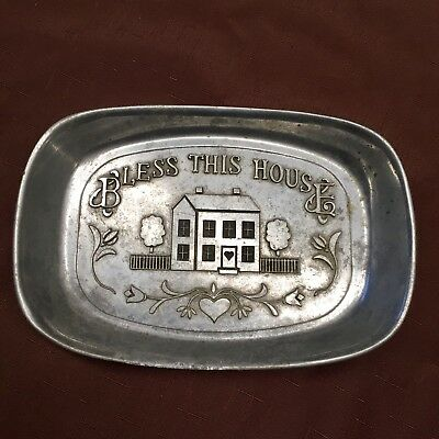 "Vintage Wilton Pewter Bread Serving Tray BLESS THIS HOUSE 11"" X 7"" Armetale"