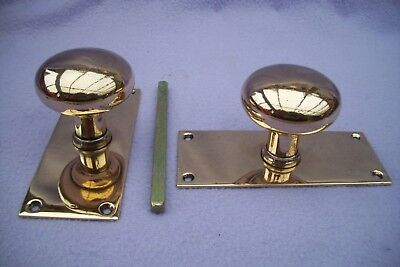 MATCHED PAIR OF GENUINE ANTIQUE BRONZE DOOR KNOBS WITH BACKPLATES - POLISHED   d