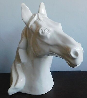 Sculpture of a white glazed horse's head by David Sharp, Rye Pottery - 27cm high