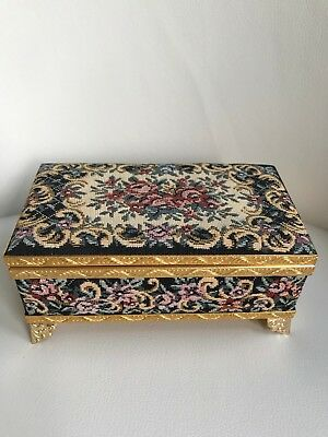 Vintage Metal  Music Box with Needlepoint-plays Love Story