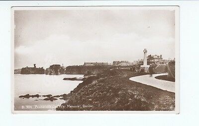 Postcard.Promenande and War memorial, Dunbar. Real Photo.