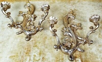 "Vintage Pair Syroco ""Wood"" Candle Wall Sconces Holder Set Gold Hollywood Regency"