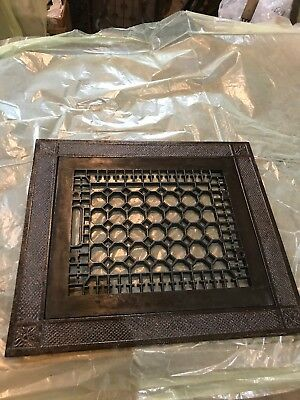 #2 Antique Cast-Iron Floor mount heating grate with frame 15.5 x 17.5 Honeycomb