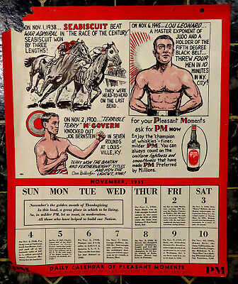 1951 National Distillers PM 14X17 Calendar Page SEABISCUIT Lou Leonard  McGovern